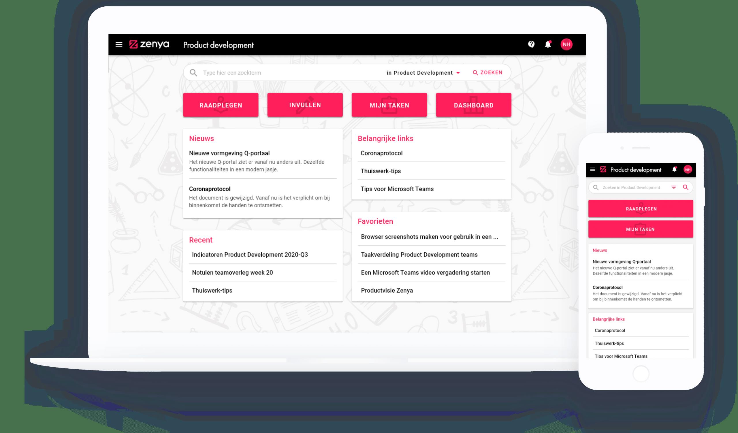 Portaal van de Zenya Software Suite