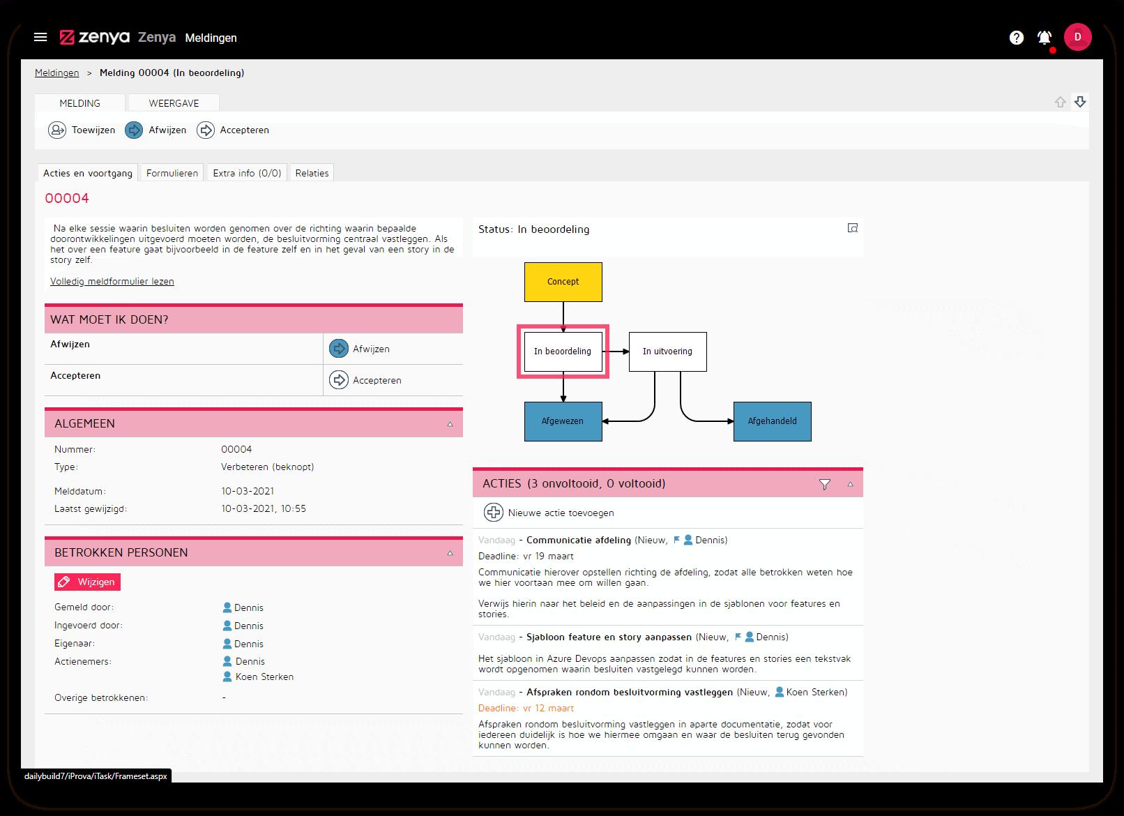 Een workflow in Zenya FLOW Incidentmanagement Software